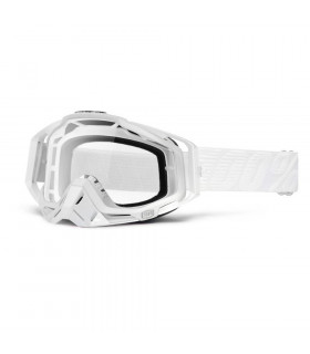100% RACECRAFT WHITE GOGGLES (CLEAR LENS)