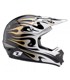 CASCO ONE INDUSTRIES KOMBAT (FLAMES-NEGRO/DORADO)