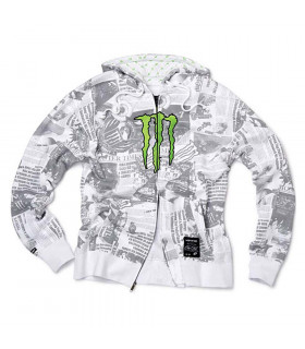 MONSTER ENERGY HEADLINES SWEATSHIRT (WHITE/SIZE XXL)