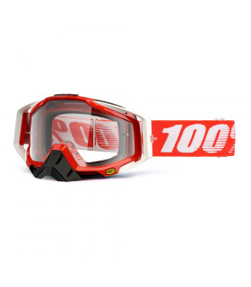 100% RACECRAFT FIRE RED GOGGLES (CLEAR LENS)