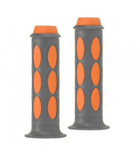 DOMINO DUAL COLORED SCOOTER GRIPS (GREY/ORANGE)